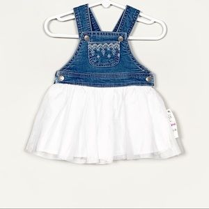 First Impressions Embroidered Denim & Tulle Dress